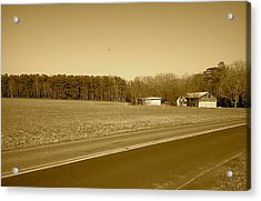 Acrylic Print featuring the photograph Old Barn And Farm Field In Sepia by Amazing Photographs AKA Christian Wilson