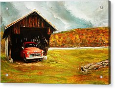 Old Barn And Red Truck Acrylic Print by Lourry Legarde