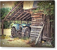 Old Barn And Tractor Acrylic Print