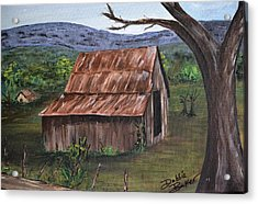 Acrylic Print featuring the painting Old Barn by Debbie Baker