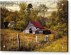 Old Barn In Autumn Acrylic Print by Debra and Dave Vanderlaan