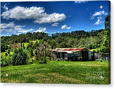 Old Barn In Lush Green Countryside Acrylic Print by Kaye Menner