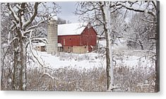 Old Barn In Snow Acrylic Print