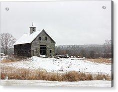 Old Barn In The Snow Acrylic Print by Benjamin Williamson
