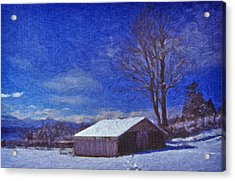 Old Barn In Winter Acrylic Print by Richard Farrington
