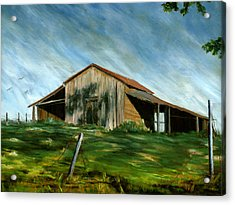 Old Barn Landscape Art Pleasant Hill Louisiana  Acrylic Print