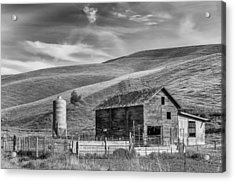 Acrylic Print featuring the photograph Old Barn Monochrome by Chris McKenna