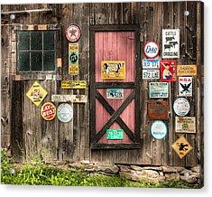 Old Barn Signs - Door And Window - Shadow Play Acrylic Print by Gary Heller
