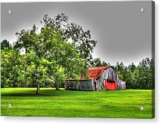Acrylic Print featuring the photograph Old Barn With Red Door by Lanita Williams