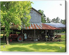Old Barn With Red Tractor Acrylic Print by Suzanne Gaff