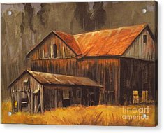 Acrylic Print featuring the painting Old Barns by Carol Hart