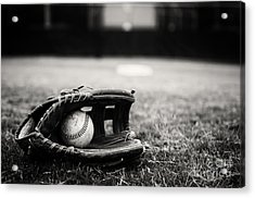 Old Baseball And Glove On Field Acrylic Print