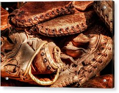 Old Baseball Gloves Acrylic Print by Bill Wakeley