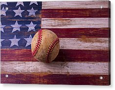 Old Baseball On American Flag Acrylic Print by Garry Gay