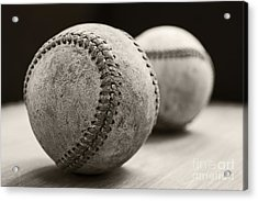 Acrylic Print featuring the photograph Old Baseballs by Edward Fielding