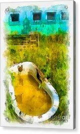 Old Bathtub Near Painted Barn Acrylic Print by Amy Cicconi