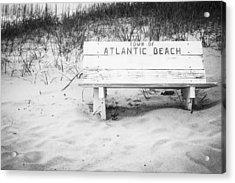 Old Beach Bench Acrylic Print