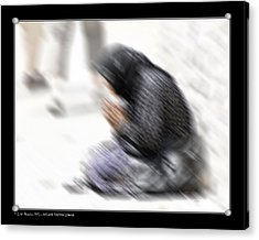 Acrylic Print featuring the photograph Old Beggar Woman by Pedro L Gili