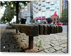 Acrylic Print featuring the photograph Old Bench In Philadelphia by Dorin Adrian Berbier