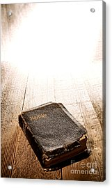 Old Bible In Divine Light Acrylic Print by Olivier Le Queinec