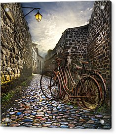 Old Bicycles On A Sunday Morning Acrylic Print by Debra and Dave Vanderlaan