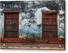 Old Bike And Grunge Wall Acrylic Print