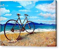 Old Bike At The Beach Acrylic Print by Kostas Koutsoukanidis