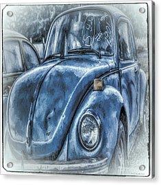 Acrylic Print featuring the photograph Old Blue Bug by Jean OKeeffe Macro Abundance Art