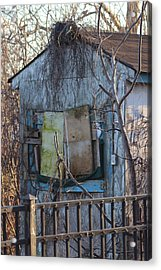 Old Blue Shack Acrylic Print by Tom Gari Gallery-Three-Photography