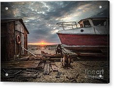 Old Boat At Sunset Acrylic Print by Ivor Toms