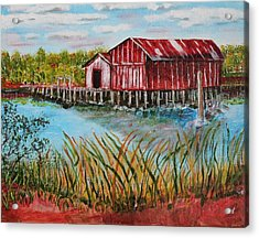 Old Boat House On Causeway Acrylic Print