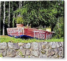 Old Boat Planter Acrylic Print by Susan Leggett