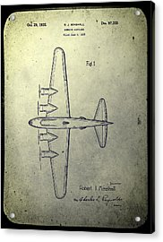 Old Bombing Aircraft Patent Acrylic Print