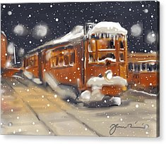 Old Boston Trolley In The Snow Acrylic Print