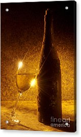 Old Bottle Of  Wine With A Glass Acrylic Print by Bernard Jaubert