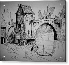 Old Bridge Acrylic Print by Maxwell Mandell