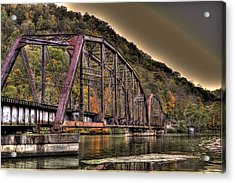 Acrylic Print featuring the photograph Old Bridge Over Lake by Jonny D