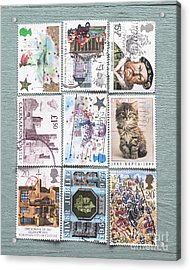 Old British Postage Stamps Acrylic Print