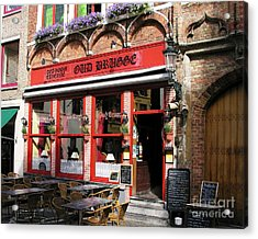 Old Brugge Tavern Acrylic Print by Mel Steinhauer