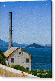 Acrylic Print featuring the digital art Old Building At Alcatraz Island Prison by Kenneth Montgomery