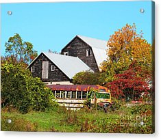 Old Bus And Barns Acrylic Print by Linda Marcille
