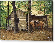 Log Cabin - Back View - At Big Creek Acrylic Print