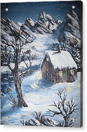 Acrylic Print featuring the painting Old Cabin by Megan Walsh