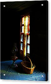 Old Cabin Table With Lamp And Basket Acrylic Print by Julie Dant