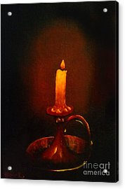 Old Candle Stick Painting Acrylic Print by Becky Lupe