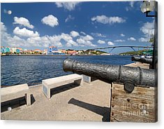 Old Cannon And Queen Juliana Bridge Curacao Acrylic Print by Amy Cicconi