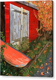Acrylic Print featuring the painting Old Canoe by Lynne Reichhart