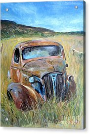 Acrylic Print featuring the painting Old Car by Jieming Wang
