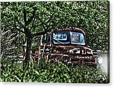 Old Car With Ghost Driver Acrylic Print by Dan Friend