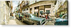 Old Cars On A Street, Havana, Cuba Acrylic Print by Panoramic Images